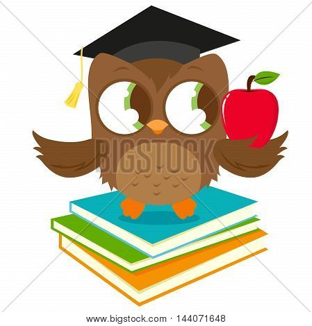 Vector illustration of a cute owl wearing a mortarboard hat, sitting on a stack of books and holding a red apple.