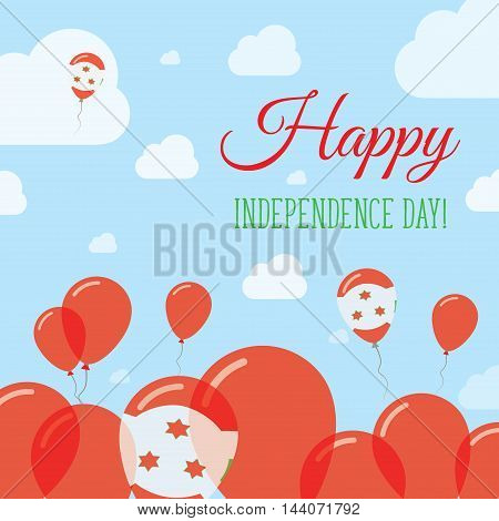 Burundi Independence Day Flat Patriotic Design. Burundian Flag Balloons. Happy National Day Vector C