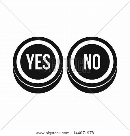 Round signs yes and no icon in simple style isolated on white background. Click and choice symbol