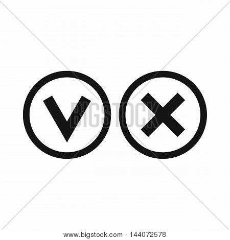 Signs of choice of tick and cross icon in simple style isolated on white background. Click and choice symbol