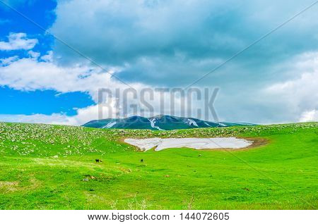 The dusty snowfield on the green meadow in highlands of Gegharkunik Province Armenia.