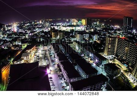 City building, fire lighting, beautiful city view at night, Bangkok, Thailand.