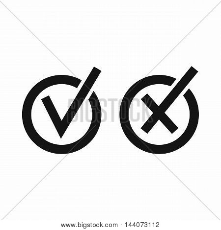 Signs of choice of tick and cross in circles icon in simple style isolated on white background. Click and choice symbol