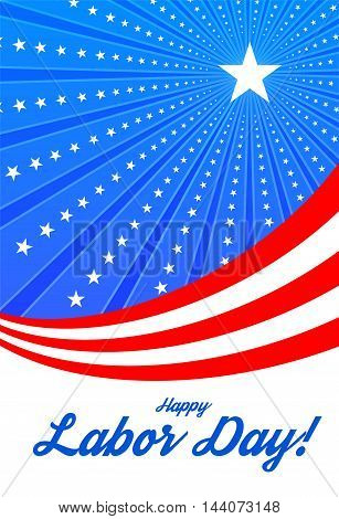 Happy labor day. Vector illustration with ribbon and stars