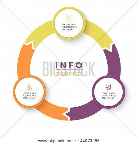 Circular arrows for infographics. Diagram with 3 steps, options, parts. Vector business template.