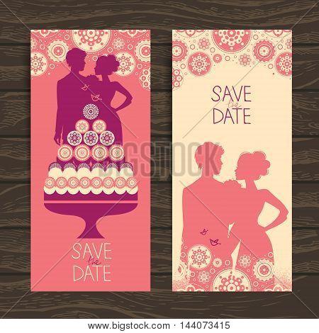 Wedding invitation card. Vintage illustration with newlyweds and cake