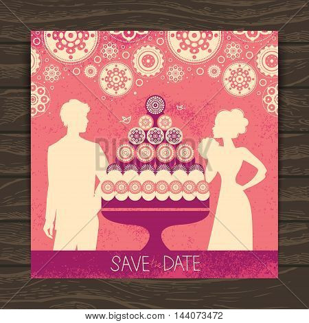 Wedding invitation card. Vintage illustration with newlyweds silhouettes and cake