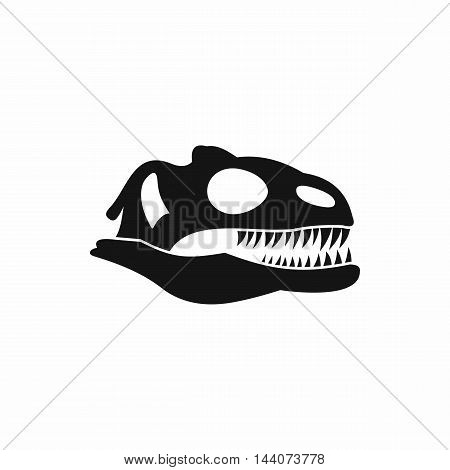 Skull of dinosaur icon in simple style isolated on white background. Animal symbol
