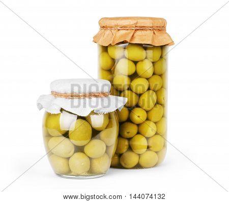 Green olives preserved in bank bottle meal, steel, natural,