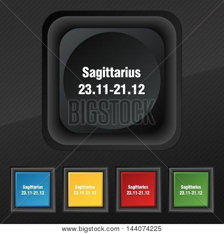 Sagittarius Icon Symbol. Set Of Five Colorful, Stylish Buttons On Black Texture For Your Design. Vec