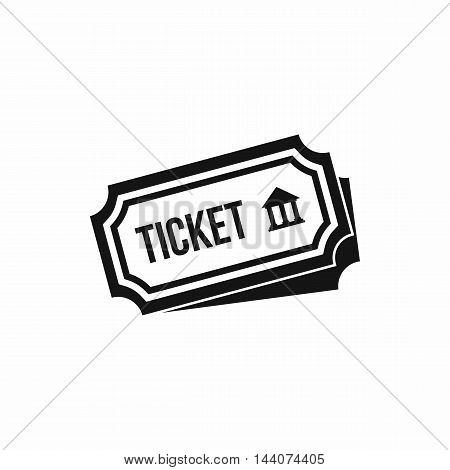 Ticket icon in simple style isolated on white background. Document symbol