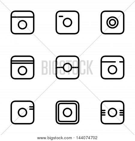 Hipster photo icons set. Camera icons. Photo camera pictogram.