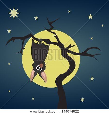 Bat hanging on a dry tree on background of full moon and starry nights. The mysterious spirit of Halloween. Colorful vector illustration.