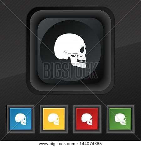 Skull Icon Symbol. Set Of Five Colorful, Stylish Buttons On Black Texture For Your Design. Vector
