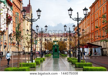 ST PETERSBURG, RUSSIA - AUGUST 26, 2014: Historical center of the city, streets during the rain, cloudy sky
