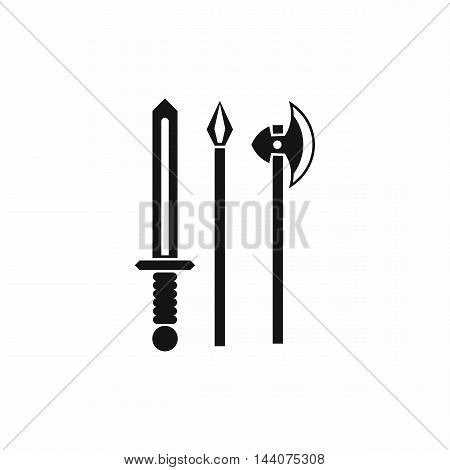 Ancient weapon sword, pick and axe icon in simple style isolated on white background. Tool symbol