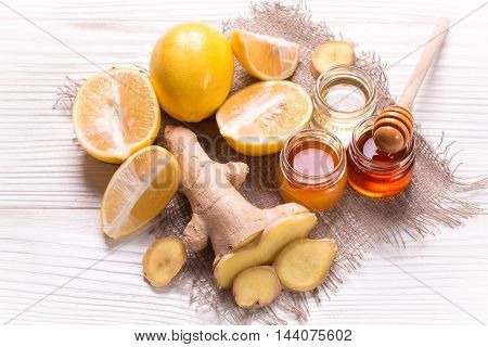 Tea,honey, Lemon And Ginger On Wooden Table.healthy Food.