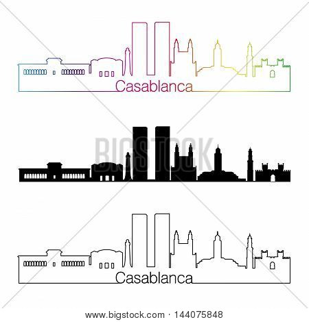 Casablanca skyline linear style with rainbow in editable vector file