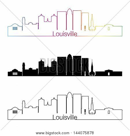 Louisville skyline linear style with rainbow in editable vector file