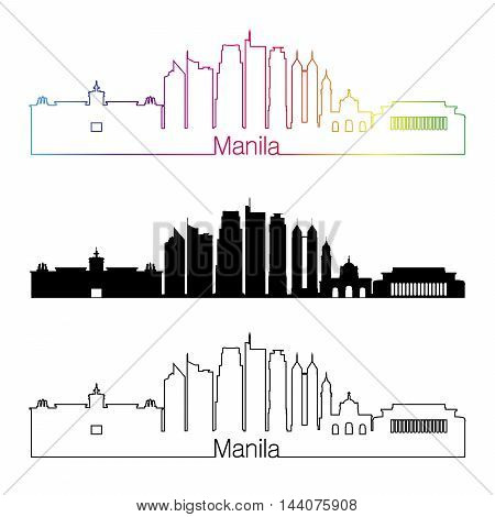 Manila skyline linear style with rainbow in editable vector file