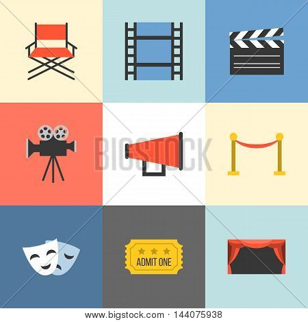 Vector movie icons set, flat design different background color