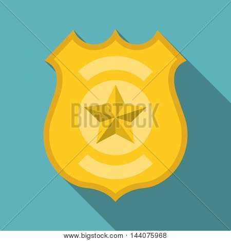 Vector police badge, flat design with long shadow