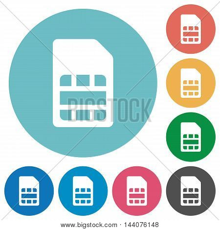 Flat SIM card icon set on round color background.