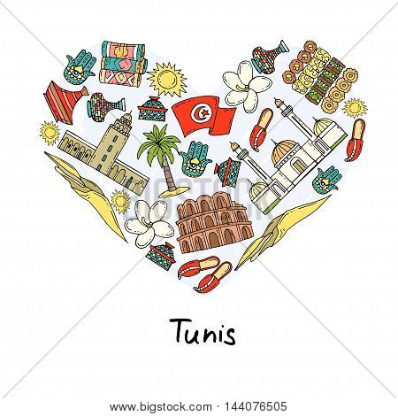 Stylized heart with hand drawn colored symbols of Tunis. Illustration on the theme of travel and tourism. Vector for use in design