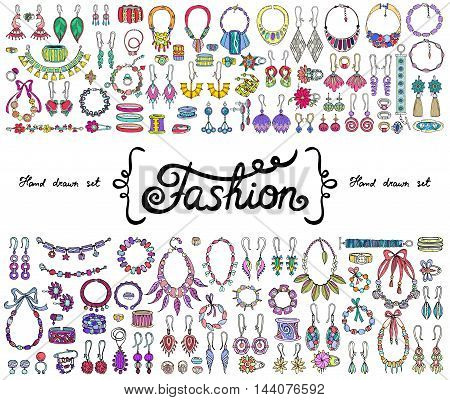 Vector set with hand drawn colored doodles on the theme of fashion accessories. Flat illustrations of jewelry. Sketches for use in design