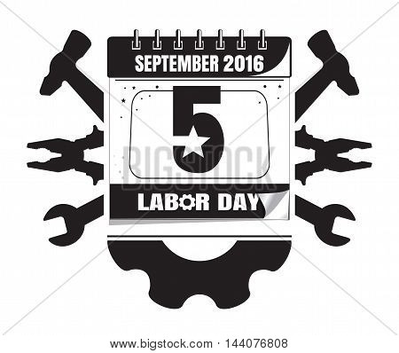 Calendar for Labor Day with gear and various tools. Vector illustration isolated on white background