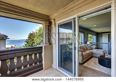 Luxury House Interior. Family Room View From The Balcony.