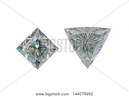 Top View Of Trillion And Princess Cut Diamond On White