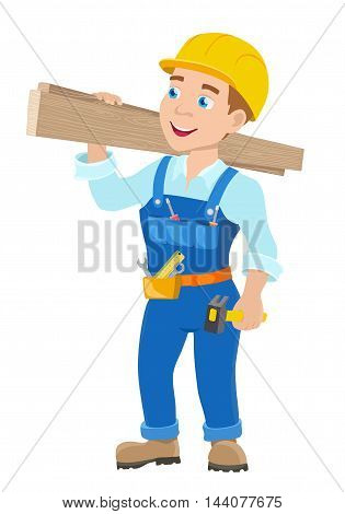 cartoon young workman with hummer. vector illustration