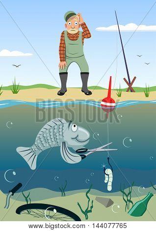 Fishing - Vector illustration - EPS .
