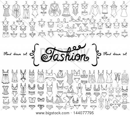 Vector set with hand drawn isolated doodles on the theme of fashion. Flat illustrations of lingerie and swimsuits for women. Sketches for use in design