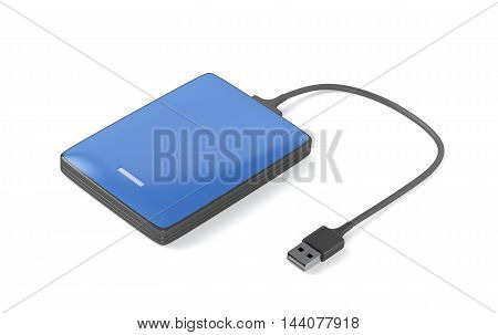 Blue portable hard drive on white background, 3D illustration