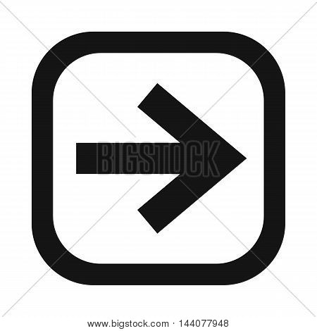 Arrow in square icon in simple style isolated on white background. Click and choice symbol