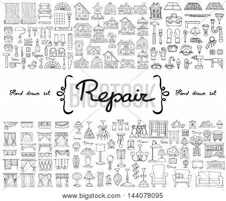 Vector set with hand drawn isolated doodles on the theme of repair. Flat illustrations of furniture curtains lamps houses building tools. Sketches for use in design