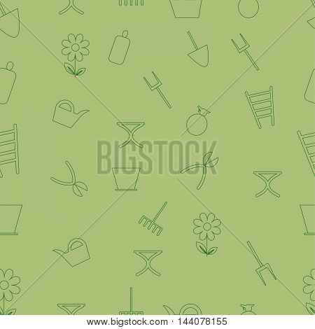 Gardening tools icon seamless pattern on green background