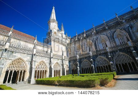 Cloister Hall Of Batalha Monastery In Portugal