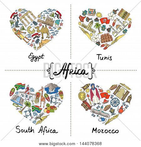 Vector set with stylized hearts with hand drawn colored symbols of Egypt Tunis South Africa Morocco. Illustration on the theme of travel and tourism. Vector for use in design