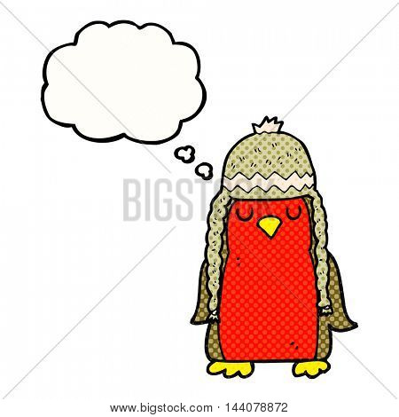freehand drawn thought bubble cartoon robin wearing winter hat
