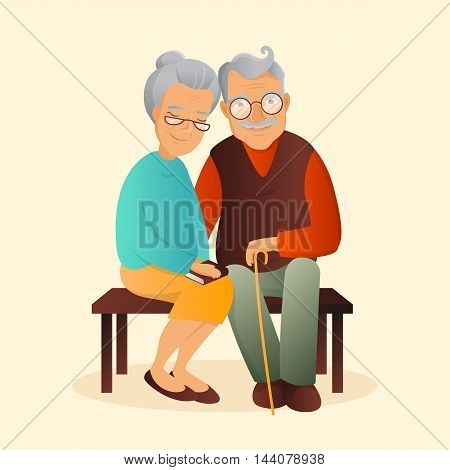 Old couple vector illustration. Grandfather and grandmother cute characters. Love and devotion concept.