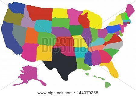 Colorful usa map capital area california city administrative