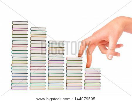 composition made up of a stack of book and a female hand isolated on white