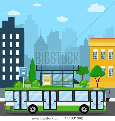 Bus stop with city background. bus stop sign and trash can. road with bus. Vector illustration in flat design