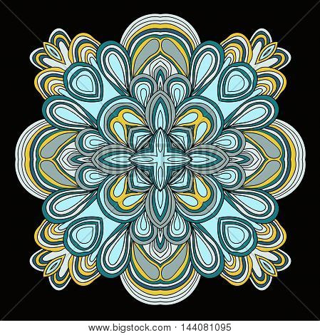 Colored vector symmetrical pattern. Square tracery. Mandala