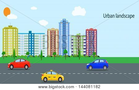 Modern City View. Cityscape with office and residential buildings, trees, road with car, blue background with clouds. vector illustration in flat style