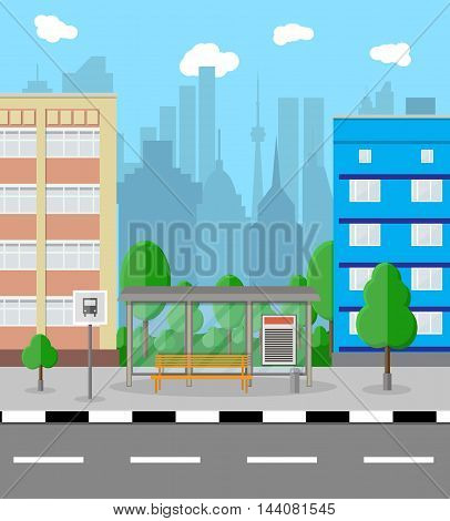 Bus stop with city background. road, trees, bus stop sign and trash bin, sky with clouds. Vector illustration in flat design