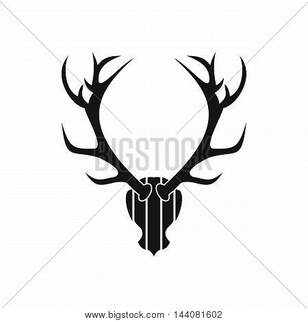 Deer antler icon in simple style isolated on white background. Trophy symbol